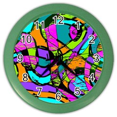 Abstract Sketch Art Squiggly Loops Multicolored Color Wall Clocks by EDDArt