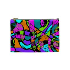 Abstract Sketch Art Squiggly Loops Multicolored Cosmetic Bag (medium)  by EDDArt