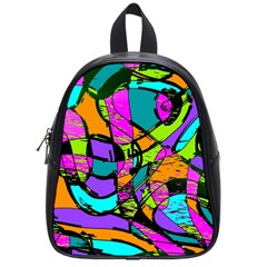 Abstract Sketch Art Squiggly Loops Multicolored School Bags (small)  by EDDArt