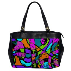 Abstract Sketch Art Squiggly Loops Multicolored Office Handbags by EDDArt