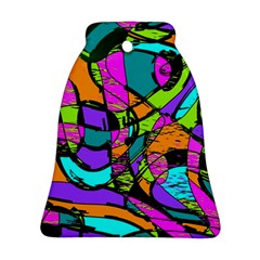 Abstract Sketch Art Squiggly Loops Multicolored Bell Ornament (2 Sides) by EDDArt