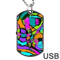 Abstract Sketch Art Squiggly Loops Multicolored Dog Tag Usb Flash (two Sides)  by EDDArt