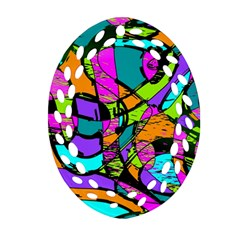 Abstract Sketch Art Squiggly Loops Multicolored Ornament (oval Filigree)  by EDDArt