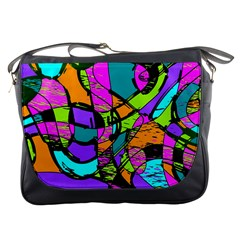 Abstract Sketch Art Squiggly Loops Multicolored Messenger Bags by EDDArt