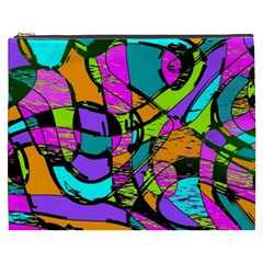 Abstract Sketch Art Squiggly Loops Multicolored Cosmetic Bag (xxxl)  by EDDArt