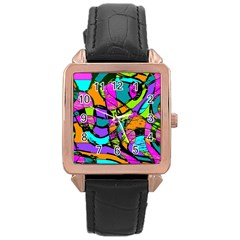 Abstract Sketch Art Squiggly Loops Multicolored Rose Gold Leather Watch  by EDDArt