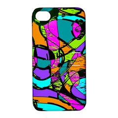 Abstract Sketch Art Squiggly Loops Multicolored Apple Iphone 4/4s Hardshell Case With Stand by EDDArt