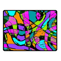 Abstract Sketch Art Squiggly Loops Multicolored Double Sided Fleece Blanket (small)  by EDDArt