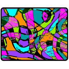 Abstract Sketch Art Squiggly Loops Multicolored Double Sided Fleece Blanket (medium)  by EDDArt