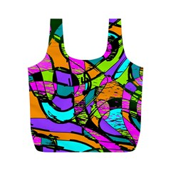Abstract Sketch Art Squiggly Loops Multicolored Full Print Recycle Bags (m)  by EDDArt