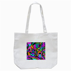 Abstract Sketch Art Squiggly Loops Multicolored Tote Bag (white) by EDDArt