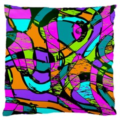 Abstract Sketch Art Squiggly Loops Multicolored Large Flano Cushion Case (one Side) by EDDArt
