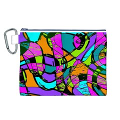 Abstract Sketch Art Squiggly Loops Multicolored Canvas Cosmetic Bag (l) by EDDArt