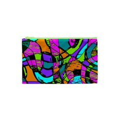 Abstract Sketch Art Squiggly Loops Multicolored Cosmetic Bag (xs) by EDDArt