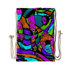 Abstract Sketch Art Squiggly Loops Multicolored Drawstring Bag (small) by EDDArt