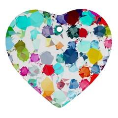 Colorful Diamonds Dream Ornament (heart)  by DanaeStudio