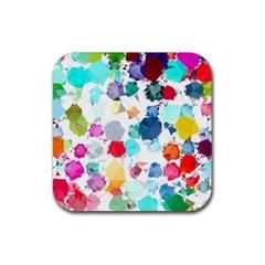 Colorful Diamonds Dream Rubber Coaster (square)  by DanaeStudio
