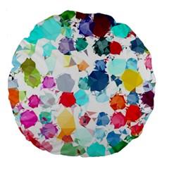 Colorful Diamonds Dream Large 18  Premium Flano Round Cushions by DanaeStudio