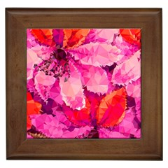 Geometric Magenta Garden Framed Tiles by DanaeStudio