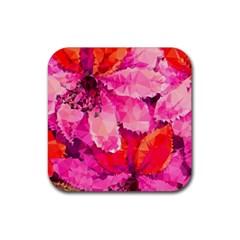 Geometric Magenta Garden Rubber Coaster (square)  by DanaeStudio