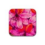 Geometric Magenta Garden Rubber Square Coaster (4 pack)