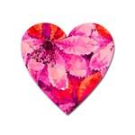 Geometric Magenta Garden Heart Magnet