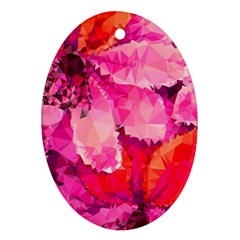 Geometric Magenta Garden Oval Ornament (two Sides) by DanaeStudio