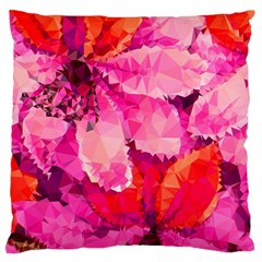 Geometric Magenta Garden Large Flano Cushion Case (two Sides) by DanaeStudio