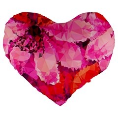 Geometric Magenta Garden Large 19  Premium Flano Heart Shape Cushions by DanaeStudio