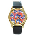 Little Flying Pigs Round Gold Metal Watch