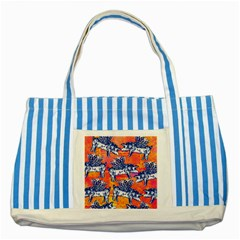 Little Flying Pigs Striped Blue Tote Bag by DanaeStudio