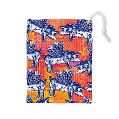 Little Flying Pigs Drawstring Pouches (large)  by DanaeStudio