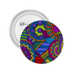 Pop Art Paisley Flowers Ornaments Multicolored 2 25  Buttons by EDDArt