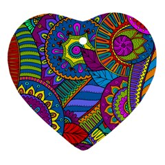 Pop Art Paisley Flowers Ornaments Multicolored Ornament (heart)  by EDDArt