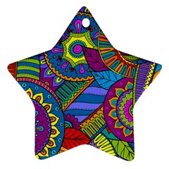 Pop Art Paisley Flowers Ornaments Multicolored Ornament (star)  by EDDArt