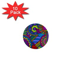 Pop Art Paisley Flowers Ornaments Multicolored 1  Mini Buttons (10 Pack)  by EDDArt