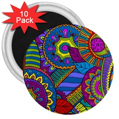 Pop Art Paisley Flowers Ornaments Multicolored 3  Magnets (10 Pack)  by EDDArt