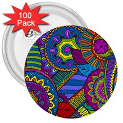 Pop Art Paisley Flowers Ornaments Multicolored 3  Buttons (100 Pack)  by EDDArt