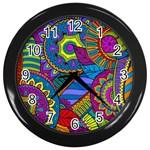 Pop Art Paisley Flowers Ornaments Multicolored Wall Clocks (Black)