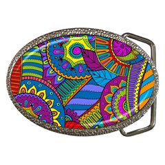 Pop Art Paisley Flowers Ornaments Multicolored Belt Buckles by EDDArt