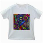 Pop Art Paisley Flowers Ornaments Multicolored Kids White T-Shirts