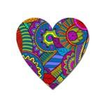 Pop Art Paisley Flowers Ornaments Multicolored Heart Magnet