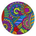 Pop Art Paisley Flowers Ornaments Multicolored Magnet 5  (Round)
