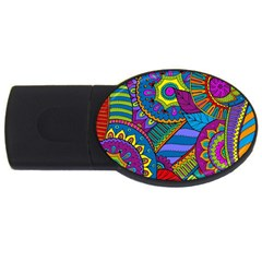 Pop Art Paisley Flowers Ornaments Multicolored Usb Flash Drive Oval (2 Gb)  by EDDArt