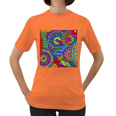 Pop Art Paisley Flowers Ornaments Multicolored Women s Dark T Shirt by EDDArt