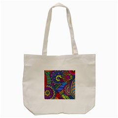Pop Art Paisley Flowers Ornaments Multicolored Tote Bag (cream) by EDDArt