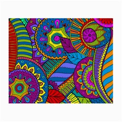 Pop Art Paisley Flowers Ornaments Multicolored Small Glasses Cloth by EDDArt