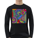 Pop Art Paisley Flowers Ornaments Multicolored Long Sleeve Dark T-Shirts