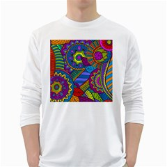 Pop Art Paisley Flowers Ornaments Multicolored White Long Sleeve T Shirts by EDDArt