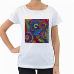 Pop Art Paisley Flowers Ornaments Multicolored Women s Loose-Fit T-Shirt (White)